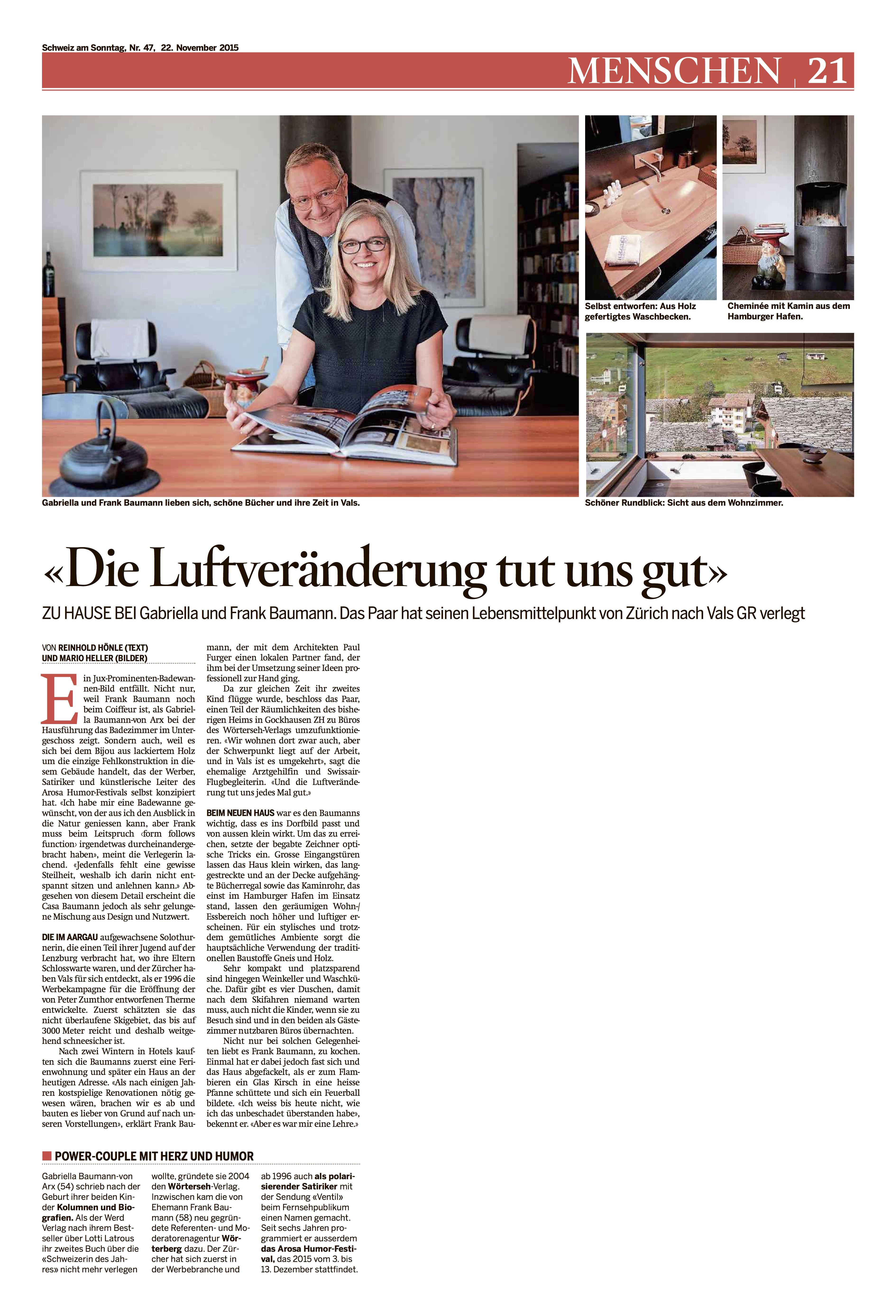 Schweiz am Sonntag: Portrait Gabriella Baumann-von Arx   Wörterseh ...